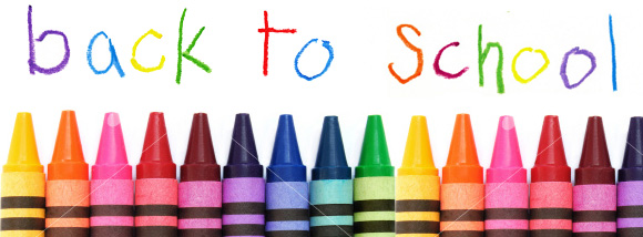 "the words ""back to school"" over crayons"