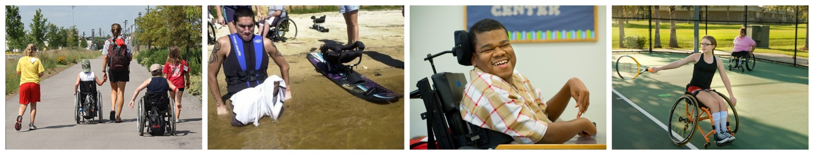 various images of people with disabilities being physically active at a park, on a tennis court, and in the water