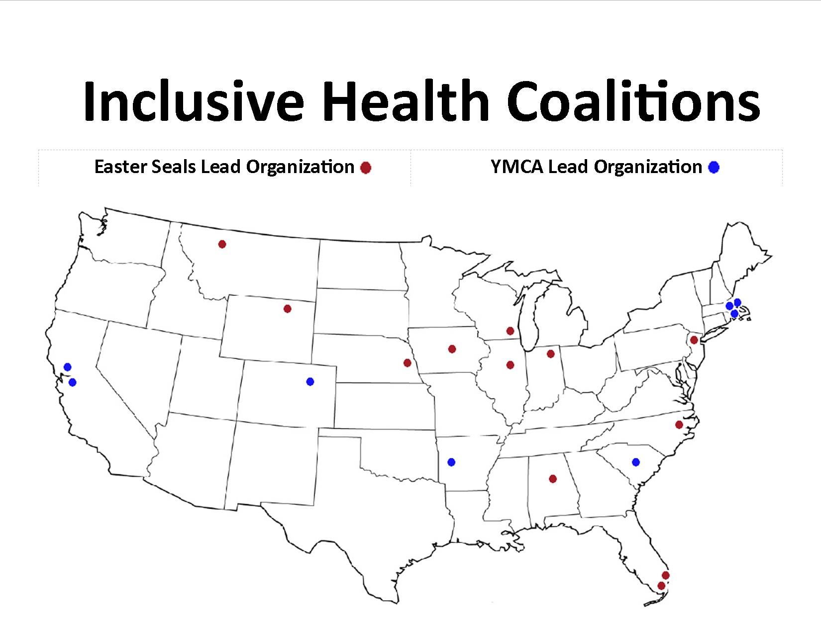 a map highlighting the locations of 20 inclusive health coalitions across the US