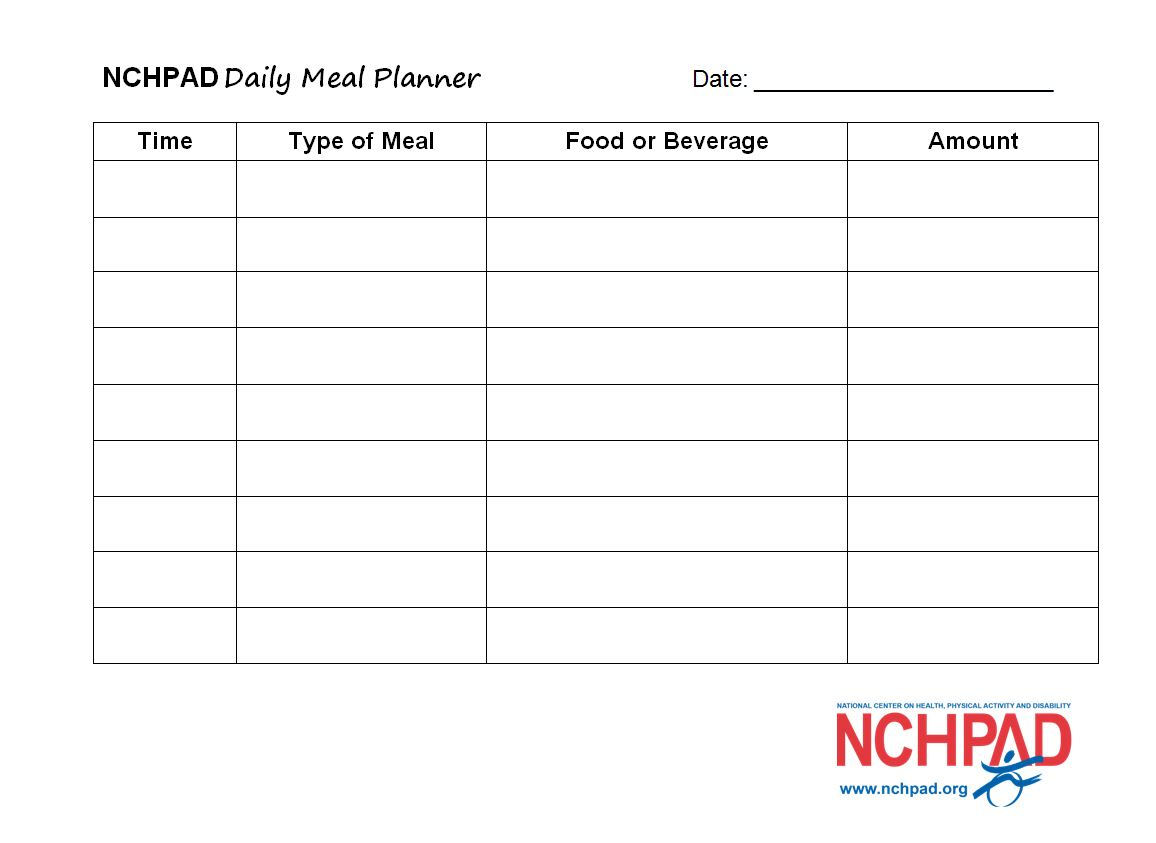 Nchpad Daily Meal Planner Template Nchpad Building Healthy