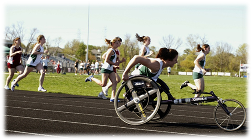 students participate in an inclusive track meet race