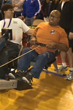 Earl Jordon attempts rowing for the first time ever at CIRC's February 16, 2008 Adaptive Exhibition