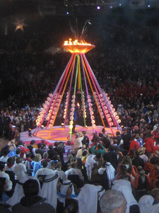 Torch lighting at the Opening Ceremonies, Idaho Center