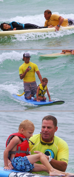 Three separate images of individuals participating in adapted surfing